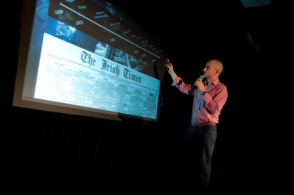 Johnny Ryan at the Grand Finale of The Irish Times Digital Challenge