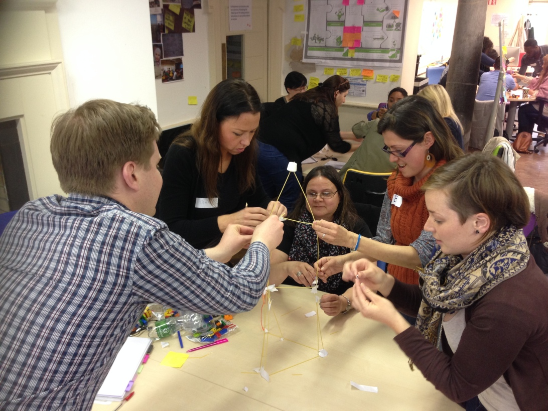 Students at The Innovation Academy tackle the marshmallow challenge