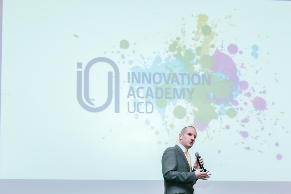 Dr Johnny Ryan speaking at The Innovation Academy